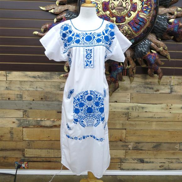 a9124013c Mexican Dress Puebla White W/ Electric Blue Sz Med. Boutique. Leos Imports
